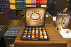 Variety of coffee capsules in Nespresso store Stock Photography