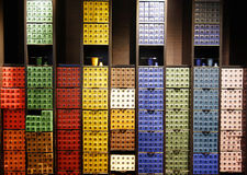 Variety of coffee capsules in Nespresso store in Paris Royalty Free Stock Image