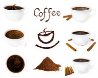 Variety of coffee component. Isolated on white Royalty Free Stock Photography