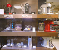 Variety of coffee machines in Nespresso store Stock Photos