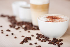 Variety of coffees with coffeebeans Stock Photo
