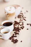 Variety Of Coffees Displayed On Table Royalty Free Stock Photos