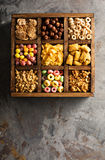 Variety of cold cereals in a wooden box overhead Stock Photography