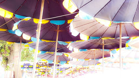 Variety color of beach umbrella with the brightness light from t. He right view Stock Image