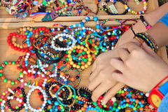 Variety of color bead Bracelets Stock Images