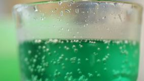Variety of color bubble energizing water for hot summer day, healthy beverage. Stock footage stock video footage