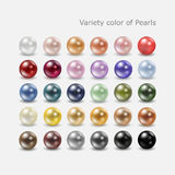 Variety color pearl set. Variety color of  spherical pearls for your decoration Royalty Free Stock Photos