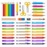 Variety of color pens pencils markers and crayons vector illustration