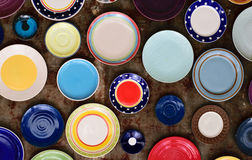 A variety of color plates and bowls Stock Photo