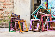 Variety of colored frames outdoors. Royalty Free Stock Image