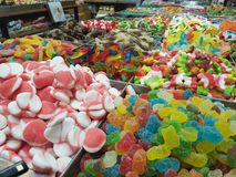 A variety of colorful candies in the store royalty free stock image