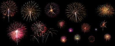 A variety of colorful fireworks isolated on black background. Fireworks concept Royalty Free Stock Images
