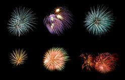 Variety of colorful fireworks isolated on black background.  Stock Image