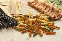 Variety of colorful Italian pasta Royalty Free Stock Photos