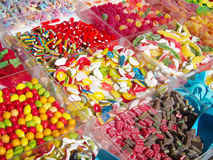Variety of colorful jelly candies Stock Photos