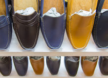 Variety of the colorful leather shoes Stock Image