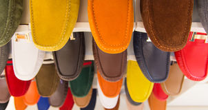 Variety of the colorful leather shoes Stock Photography