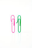 Variety of colorful paper clips,  family talk together concept Stock Photography