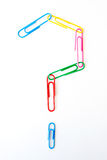 Variety of colorful paper clips :  question mark shape Royalty Free Stock Images