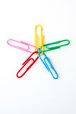 Variety of colorful paper clips Royalty Free Stock Photos
