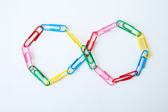 Variety of colorful paper clips Royalty Free Stock Images