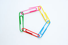 Variety of colorful paper clips Stock Image