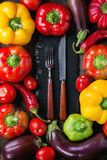 Variety of colorful paprika peppers Royalty Free Stock Image
