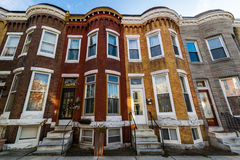 Variety of Colorful Row Homes in Hampden, Baltimore Maryland.  Stock Images