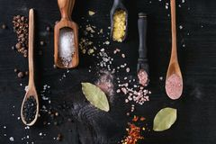 Variety of colorful salt Royalty Free Stock Image