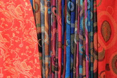 Variety in colorful scarves stock photo