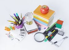 Variety of colorful school supplies on a white background Royalty Free Stock Photo