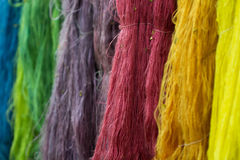 Variety of colorful silk dyeing. Blur variety of colorful silk dyeing royalty free stock photography
