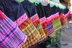 Variety colorful skirt. Variety colorful Tribal skirt in Thailand royalty free stock image