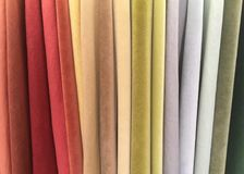 A Variety of Colorful Suede Fabrics royalty free stock photography