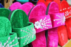 The variety colorful sandals. The variety colorful Tribal sandals in north Thailand royalty free stock photo