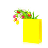 Variety of colorful tulips in yellow shopping bag Royalty Free Stock Photo