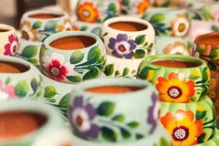 Variety of Colorfully Painted Ceramic Pots. Royalty Free Stock Photo