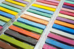 Variety colors of chalk pastel iin a box Royalty Free Stock Photos
