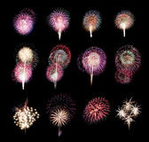 Variety of colors Mix Fireworks or firecracker Collections. Stock Photo