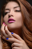 Variety of colors. Portrait of beautiful women touching face wit Stock Photography