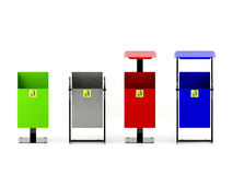 Variety colors rubbish bins set with trash icon isolated on white background. Variety colors rubbish bins set with trash icons, hygienic concept Royalty Free Stock Images