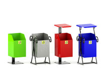 Variety colors rubbish bins set with trash icon isolated on white background. Variety colors rubbish bins set with trash icons, hygienic concept Stock Images