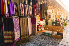 A variety of coloured cloths and silks from Northern Africa Stock Photos