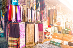 A variety of coloured cloths and silks from Northern Africa Stock Photo