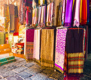 A variety of coloured cloths and silks from Northern Africa Royalty Free Stock Photo