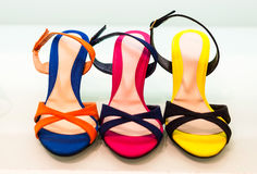 Variety of the colourful leather shoes Royalty Free Stock Image