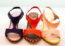 Variety of the colourful leather shoes Royalty Free Stock Photo
