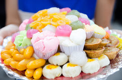 A variety of colourful thai sweet Royalty Free Stock Photography