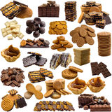 Variety of cookies and chocolate on a white background. Royalty Free Stock Photo
