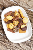 Variety of Cookies on plate Stock Photos